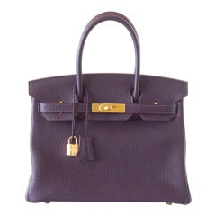 Hermes Birkin 30 Rich Raisin Gold Hardware Original Colour Togo Bag