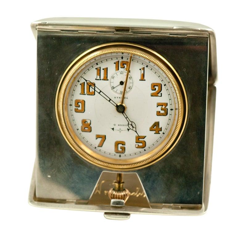 Eterna Austrian Silver Travel Alarm Clock Watch At 1stdibs
