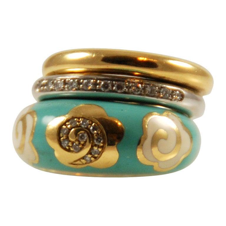 nouvelle bague enamel gold ring