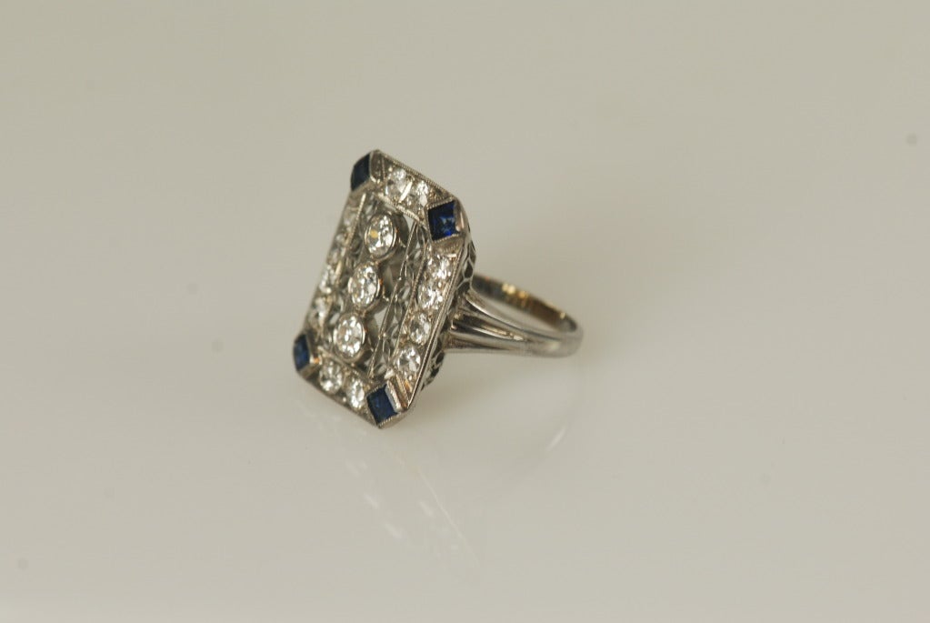 antique sapphire and platinum ring at 1stdibs