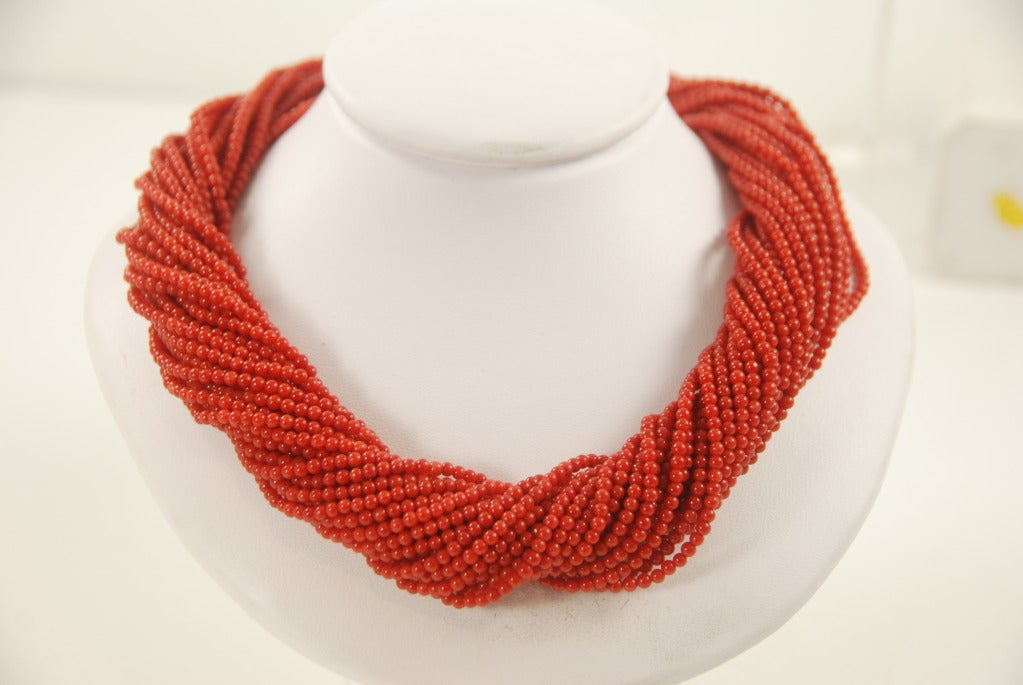 Red Coral Multi Strand Torsade Necklace image 2