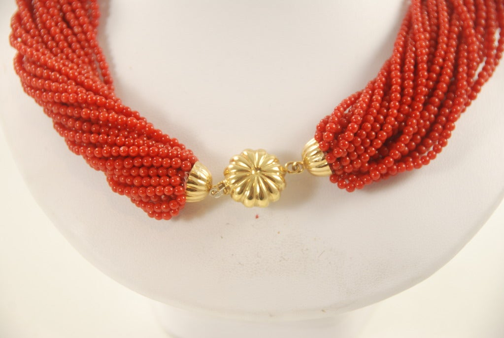 Red Coral Multi Strand Torsade Necklace image 3