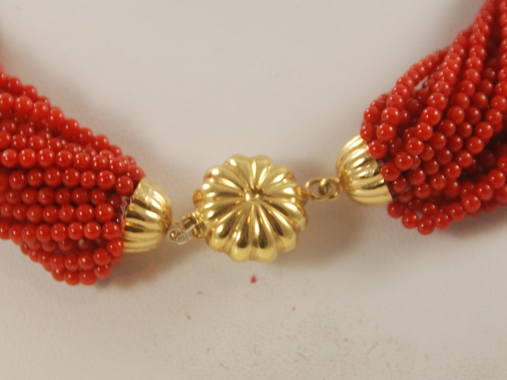 Red Coral Multi Strand Torsade Necklace image 4