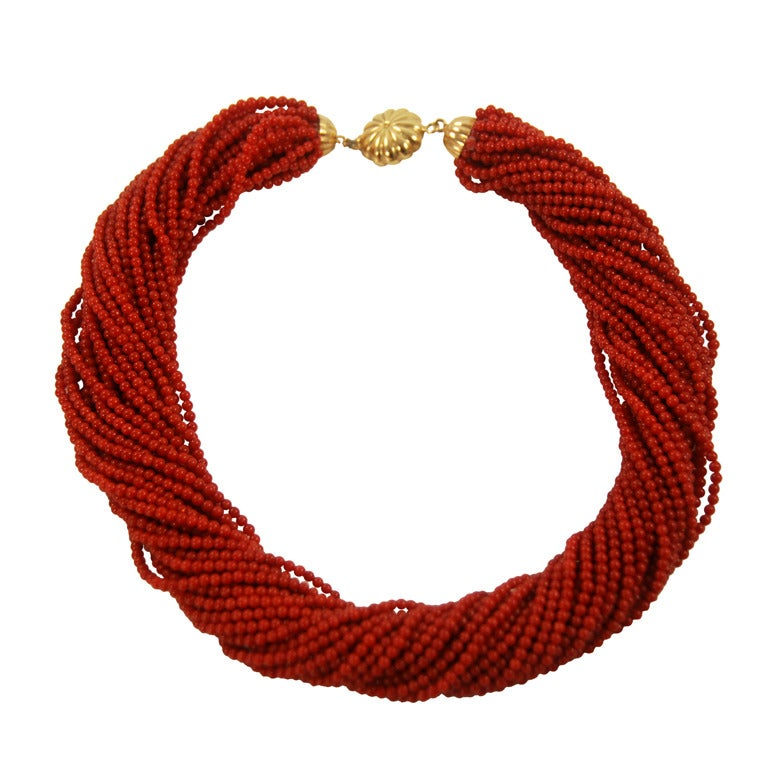 Red Coral Multi Strand Torsade Necklace At 1stdibs