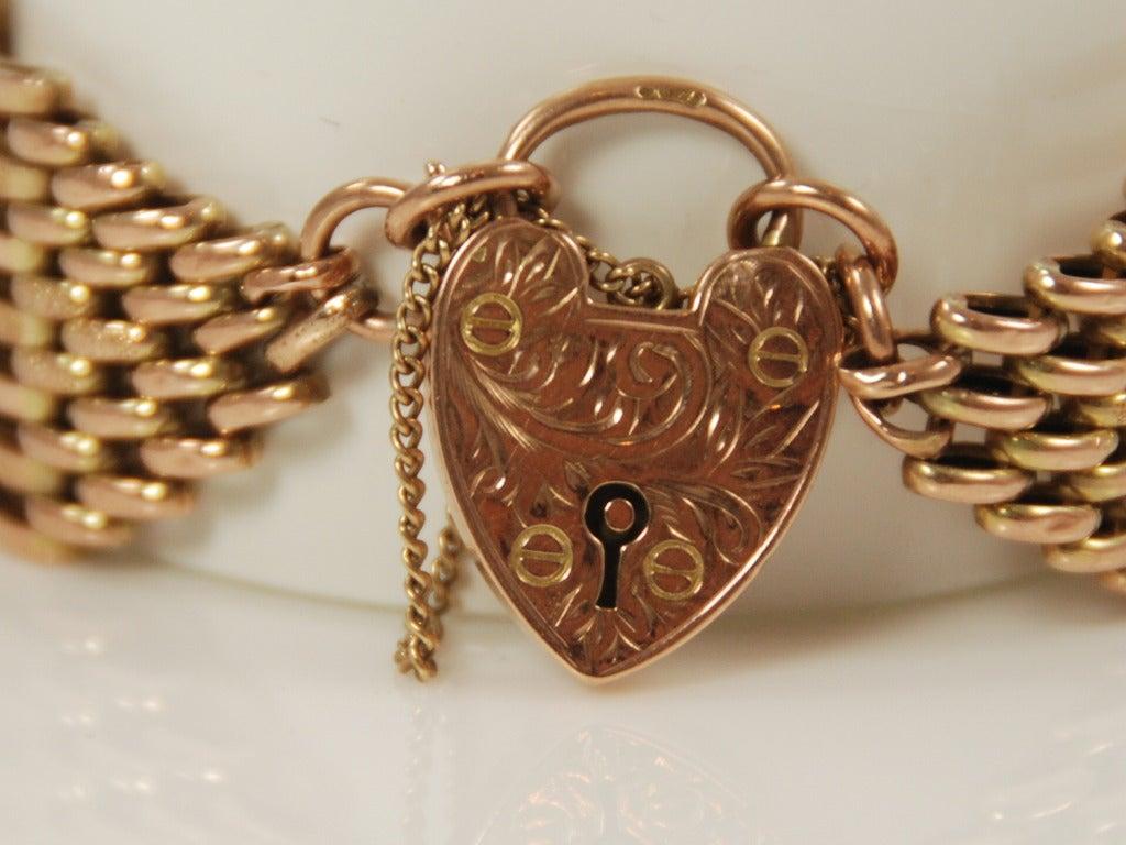 Edwardian Pink Gold Heart Lock Gate Link Bracelet At 1stdibs
