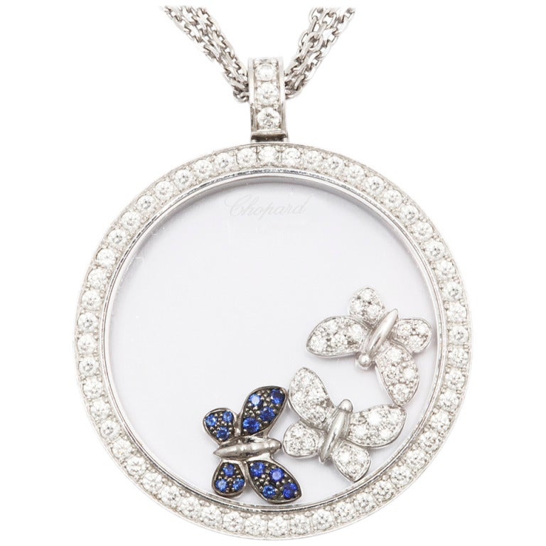 white gold chopard happy diamonds butterfly necklace at