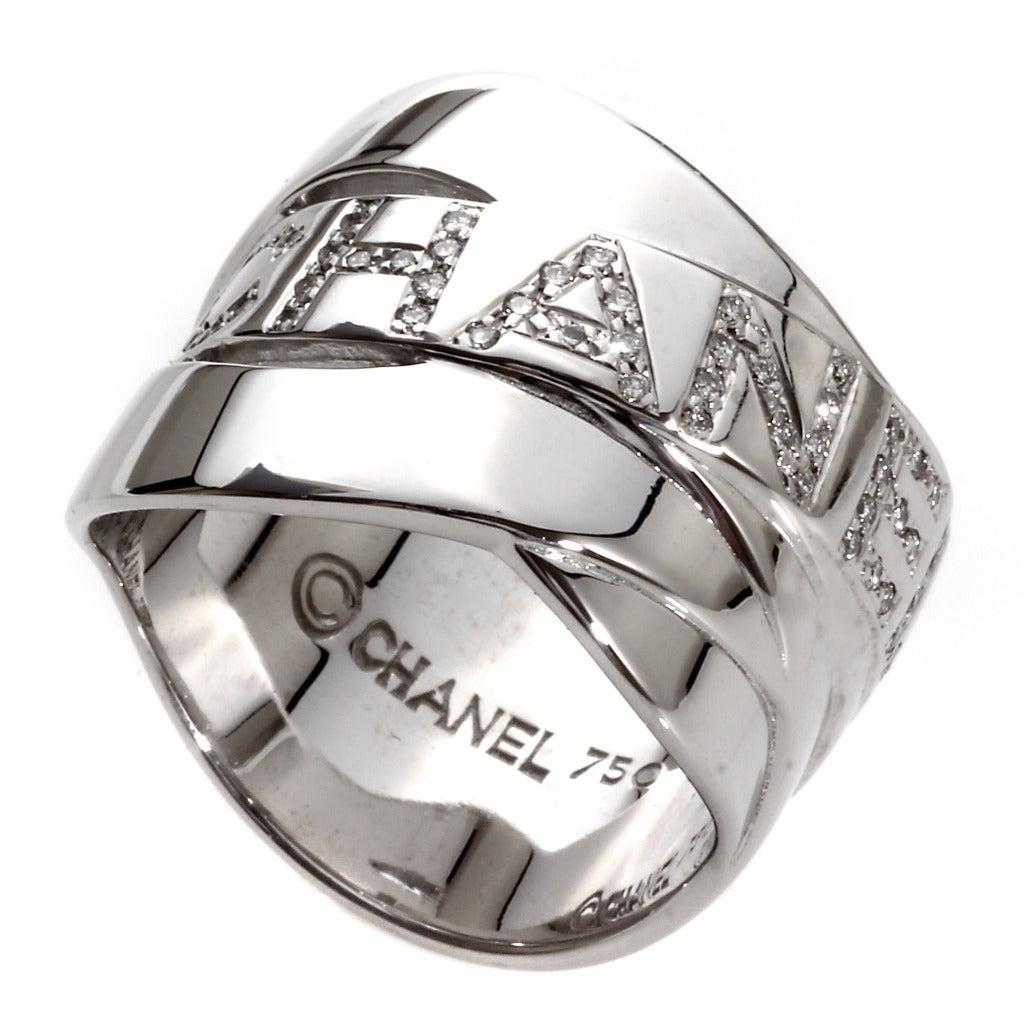Chanel Diamond Gold Bolduc Ring 2