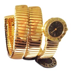Bulgari Yellow Gold Tubogas Snake Bracelet Watch