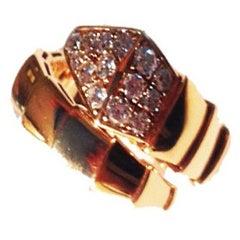 Bulgari Diamond  and Gold  Snake Ring