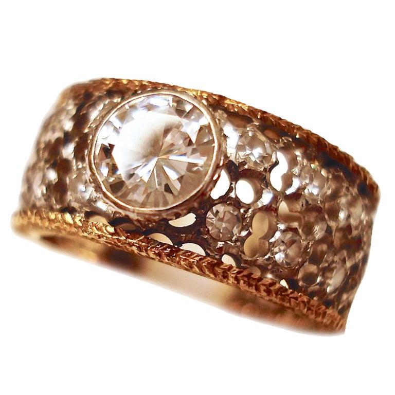 Mario Buccellati Diamond Yellow Gold Band Ring