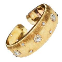 Mario Buccellati Diamond and Gold cuff bracelet