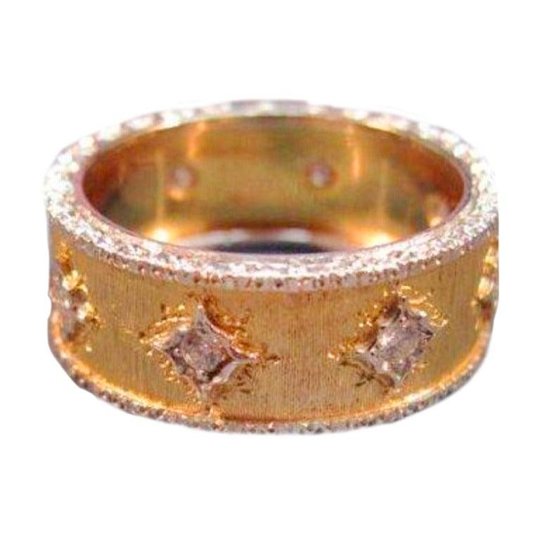 Mario Buccellati Diamond Yellow Gold Band Ring For Sale
