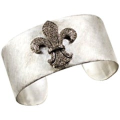 Hand Wrought Hammered Gemset Silver Diamond Cuff