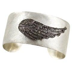 Hand Wrought Hammered Silver Diamond Gemset Cuff