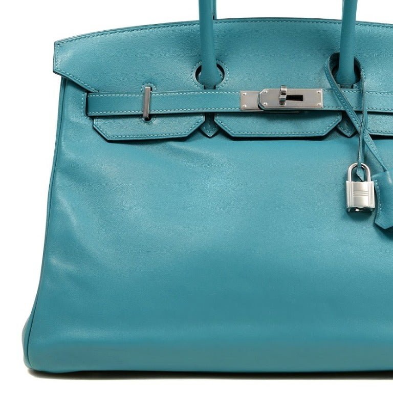 Hermes Turquoise Swift Leather Birkin Bag 35 cm For Sale at 1stdibs