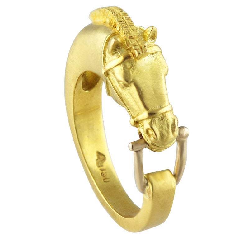 Lipten Yellow And White Gold Horse W Bit Ring At 1stdibs