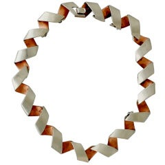 1950s Antonio Pineda Taxco Rare Copper .970 Silver Link Necklace