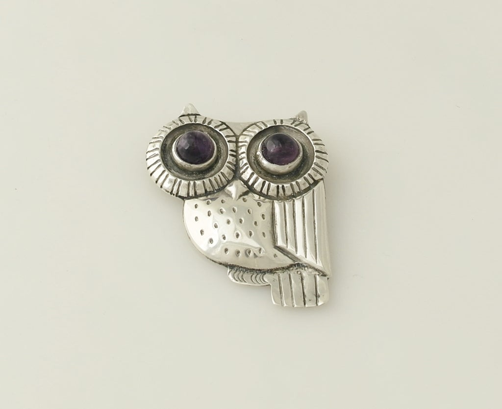 William Spratling Iconic Sterling Silver & Amethyst Owl Pin 1948 image 2