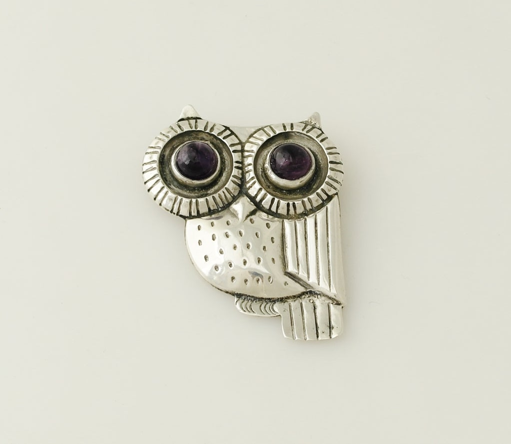 William Spratling Iconic Sterling Silver & Amethyst Owl Pin 1948 image 3
