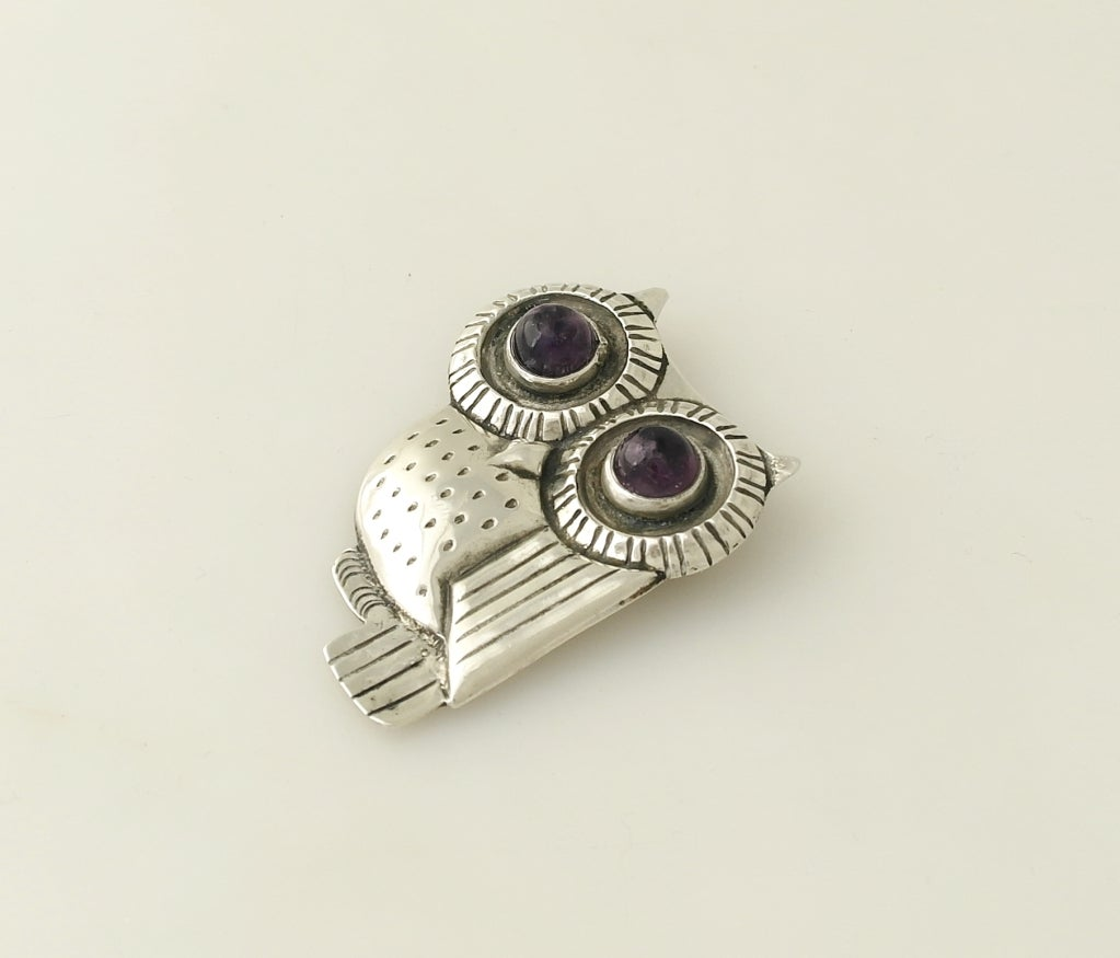 William Spratling Iconic Sterling Silver & Amethyst Owl Pin 1948 image 5