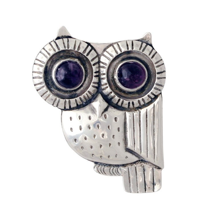 William Spratling Iconic Sterling Silver & Amethyst Owl Pin 1948