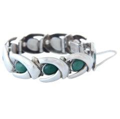 Antonio Pineda Sterling .970 Silver Cabochon Jade Bracelet 1960