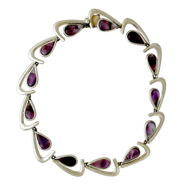 Antonio Pineda 970 Silver Amethyst Modernist Necklace At