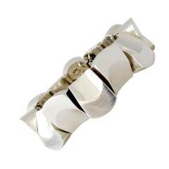 1960s Antonio Pineda Iconic .970 Silver Modernist Bracelet