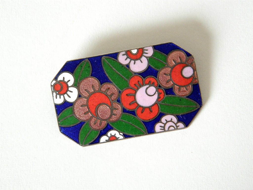Art Deco Enameled Floral Brooch 2