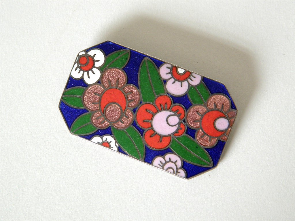 Art Deco Enameled Floral Brooch 3