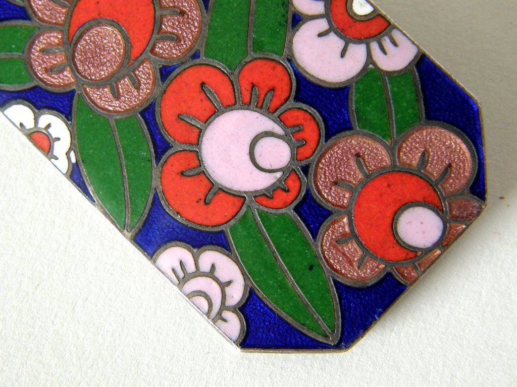 Art Deco Enameled Floral Brooch 6