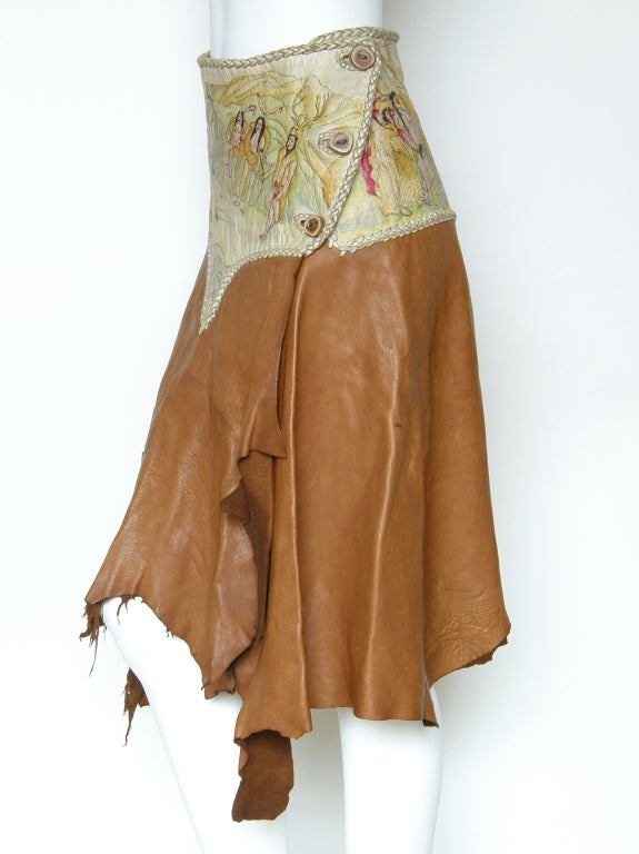 Brown Hand Painted Leather Skirt For Sale