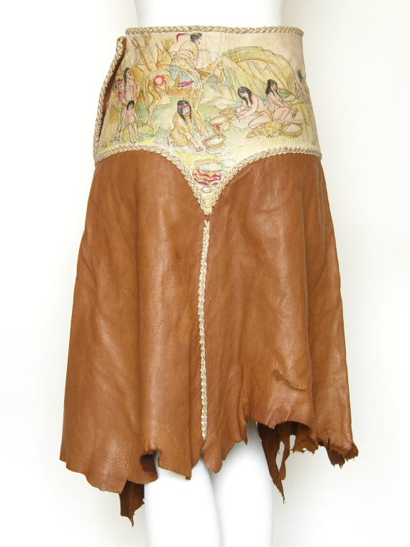 Hand Painted Leather Skirt In Good Condition For Sale In Chicago, IL