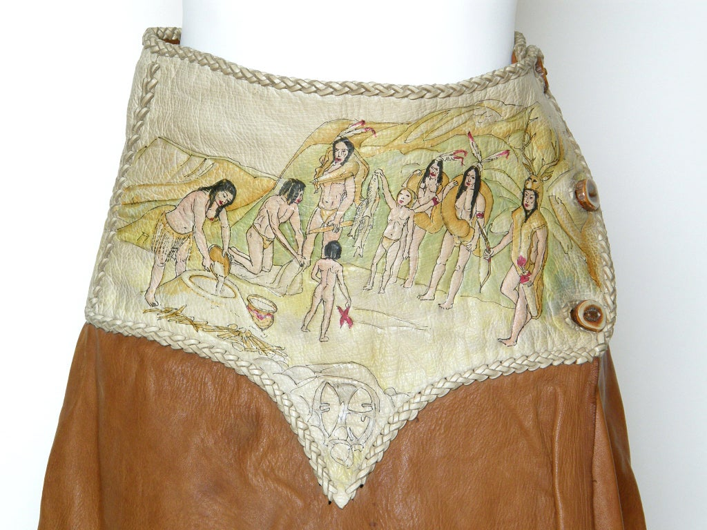 Women's Hand Painted Leather Skirt For Sale