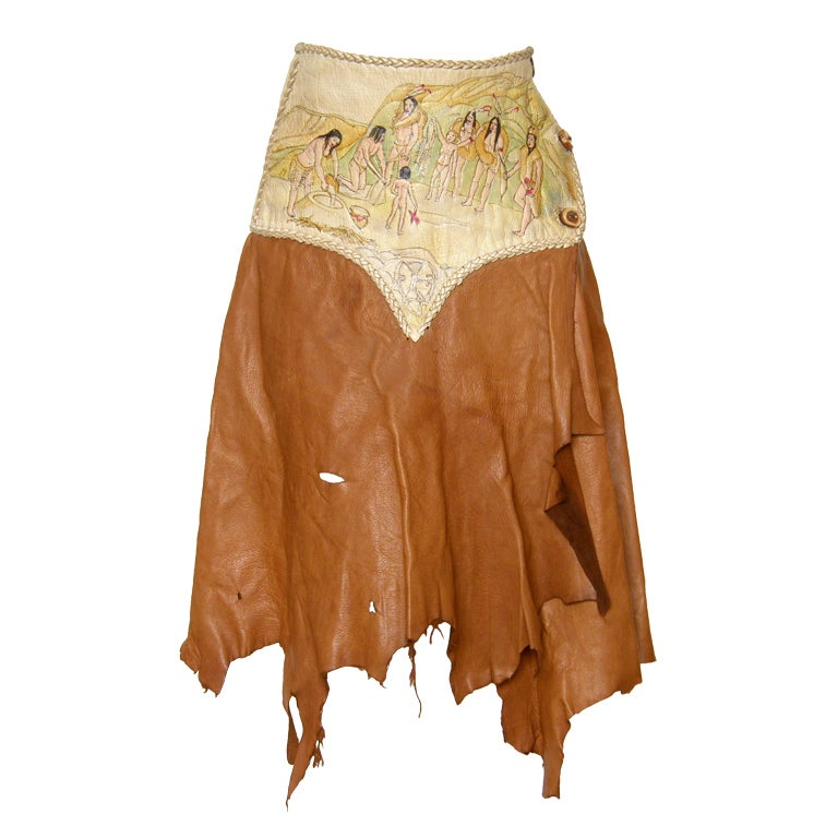 Hand Painted Leather Skirt For Sale