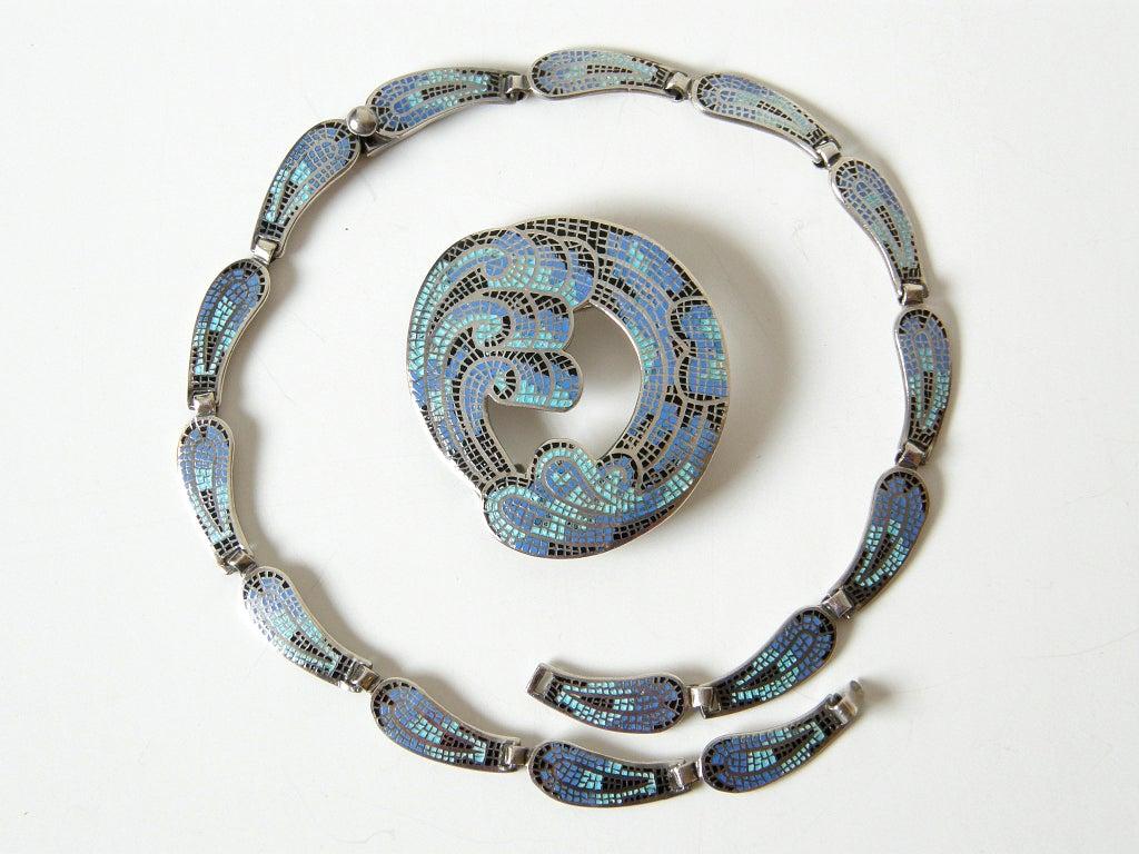 Margot de Taxco Enameled Sterling Necklace and Earrings 1