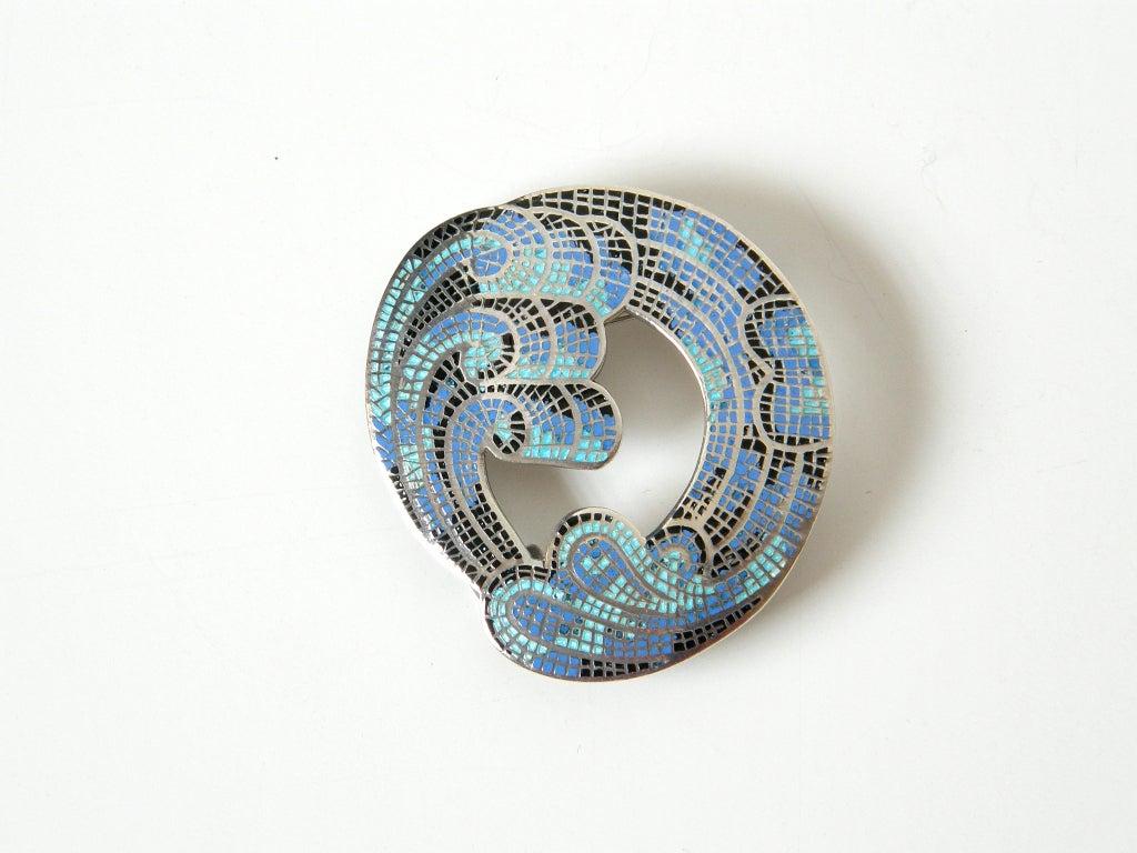 Margot de Taxco Enameled Sterling Necklace and Earrings 2