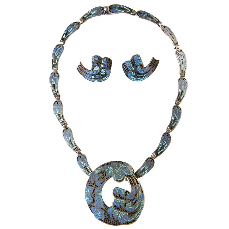 Margot de Taxco Enameled Sterling Necklace and Earrings