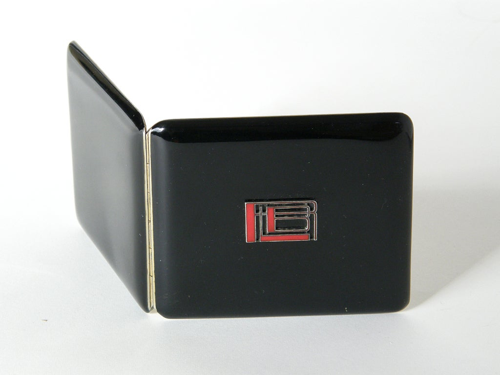 Women's or Men's French Art Deco Black Lacquer Cigarette Case For Sale