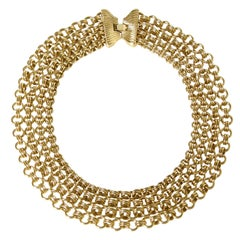 Monet Gold Tone Chain Mail Collar