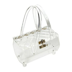 Clear Lucite Box Bag with Carved Lid
