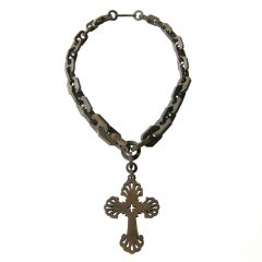 Victorian Gutta Percha Cross Necklace