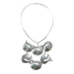 Mexican Sterling Fish Necklace