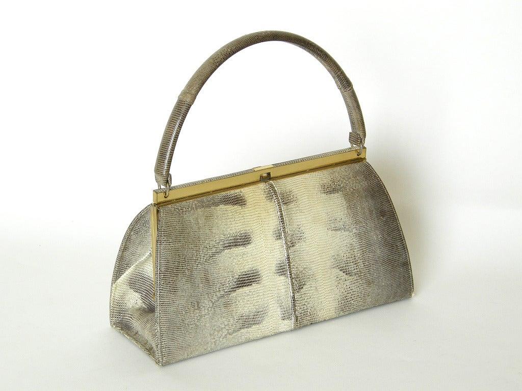 Brown Bellestone Lizard Handbag For Sale