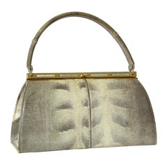 Bellestone Gray and Cream Lizard Skin Handbag with Top Handle