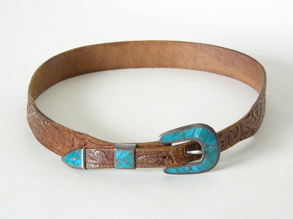 Tooled Leather Ranger Belt 2