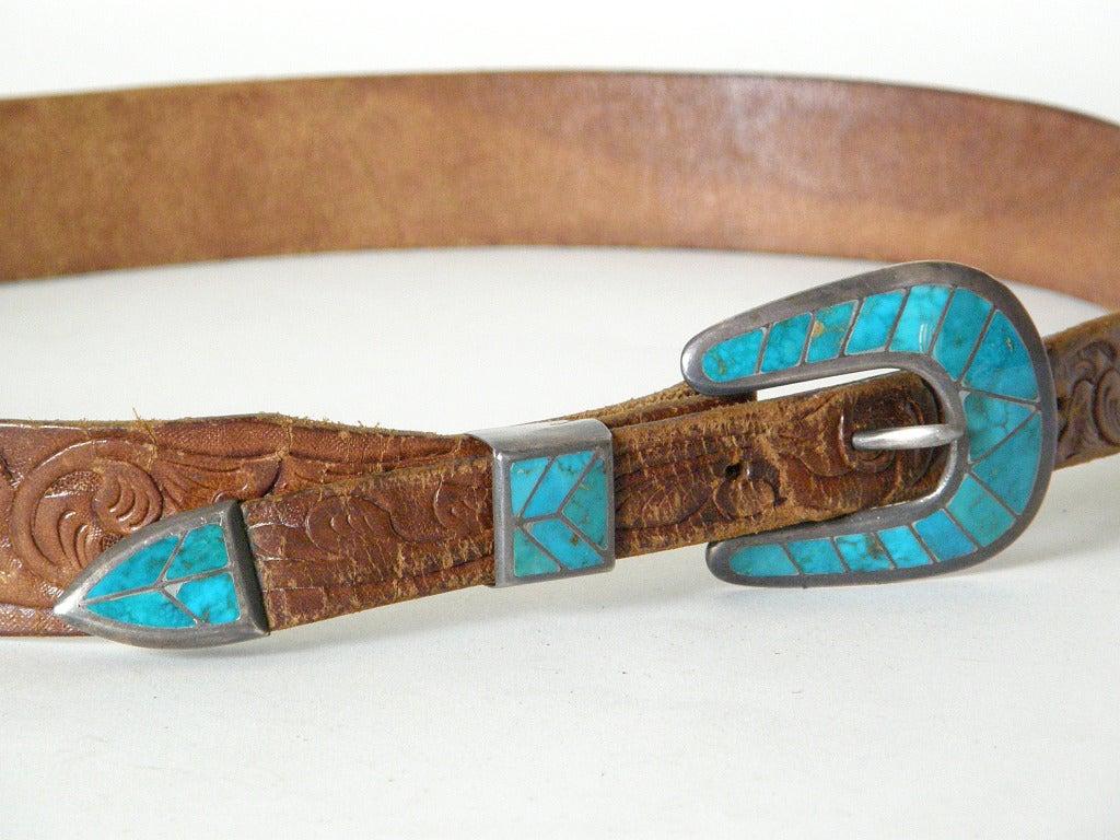 Tooled Leather Ranger Belt 3