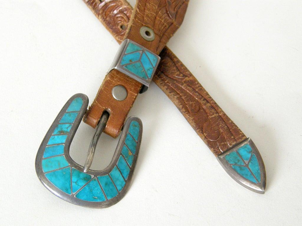Tooled Leather Ranger Belt 4