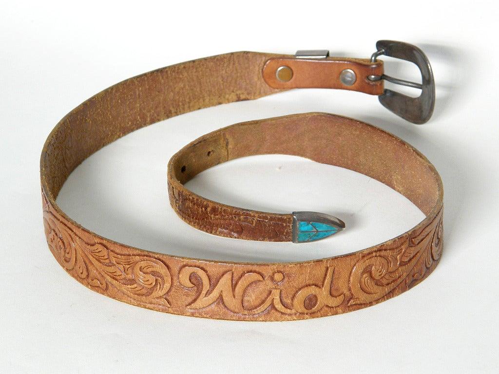 Tooled Leather Ranger Belt 6