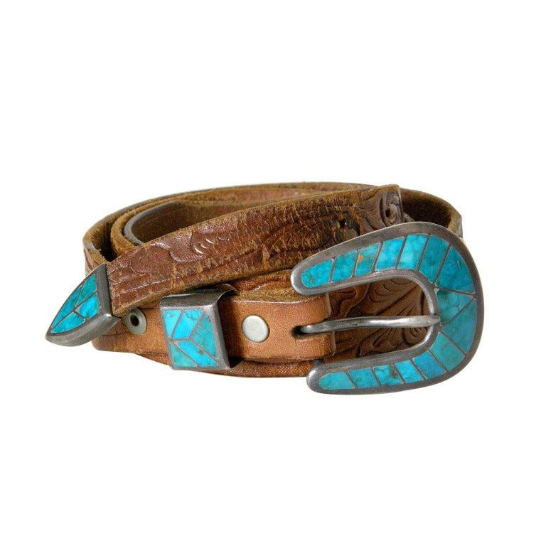Tooled Leather Ranger Belt 1